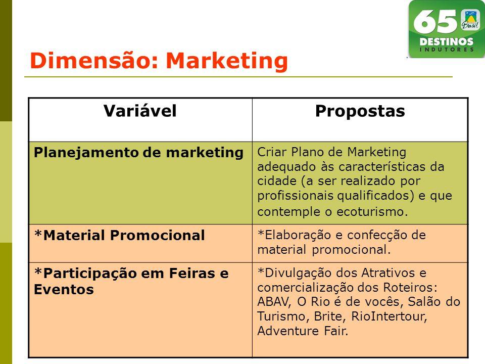 Dimensão: Marketing Variável Propostas Planejamento de marketing