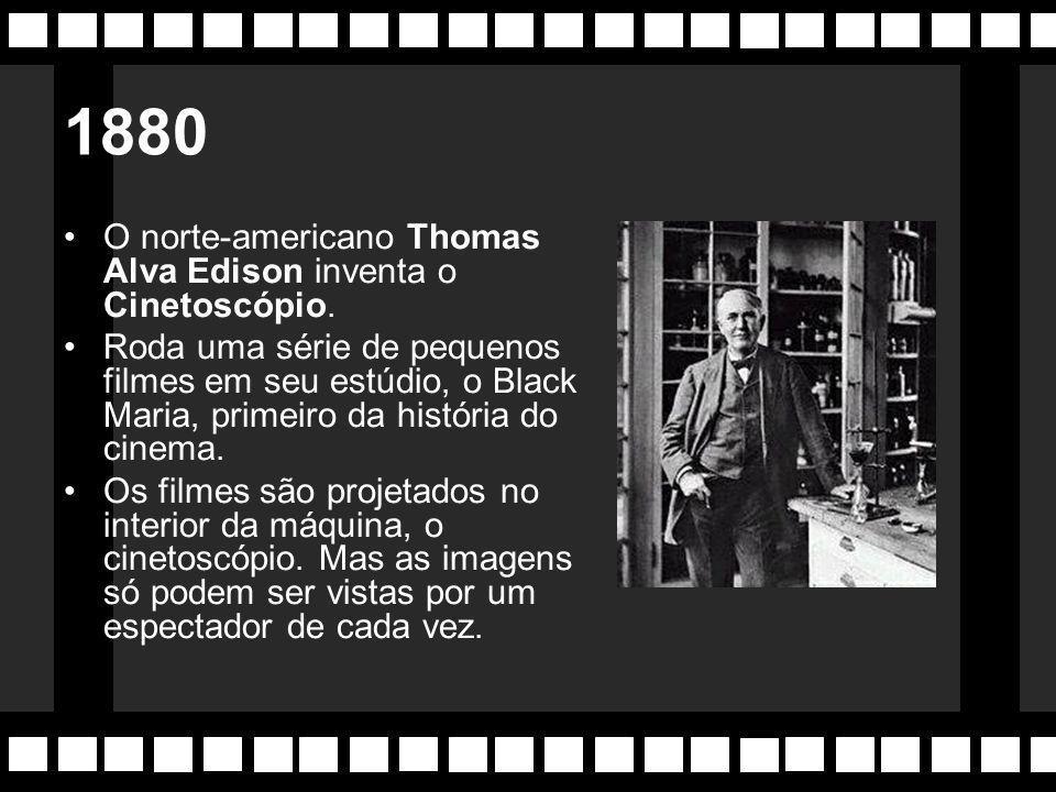 1880 O norte-americano Thomas Alva Edison inventa o Cinetoscópio.