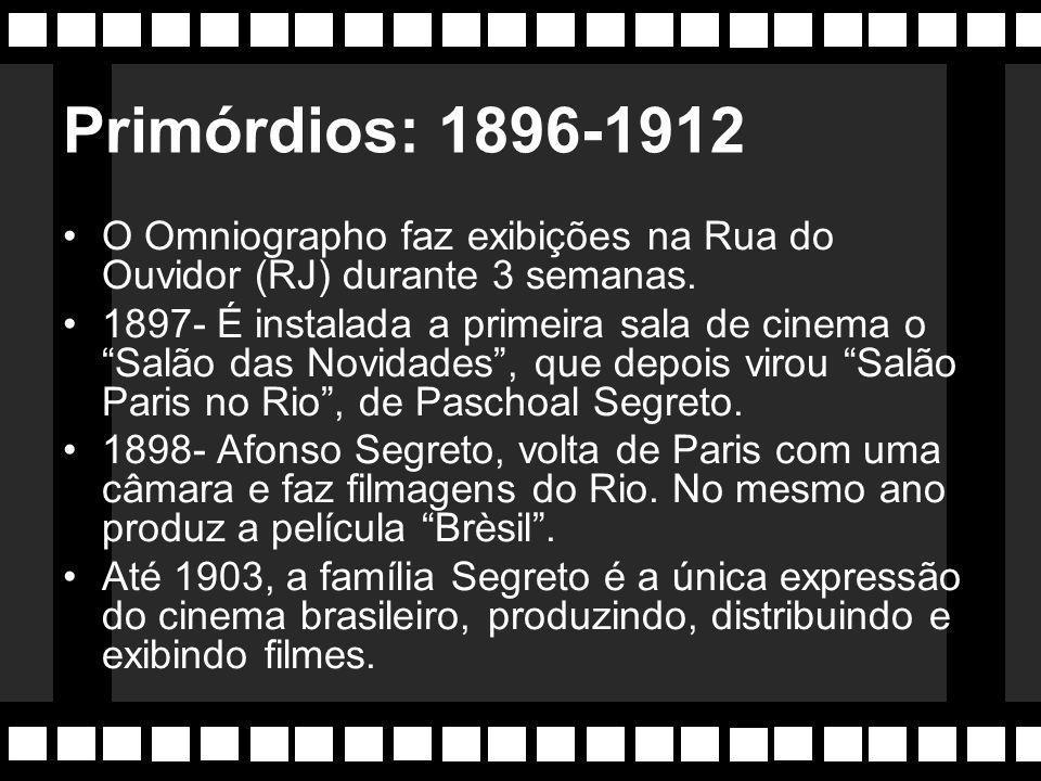 Primórdios: 1896-1912 O Omniographo faz exibições na Rua do Ouvidor (RJ) durante 3 semanas.