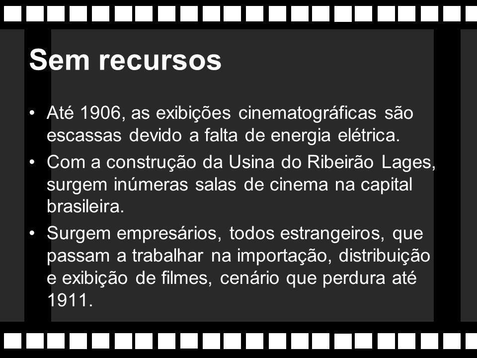 Sem recursos Até 1906, as exibições cinematográficas são escassas devido a falta de energia elétrica.