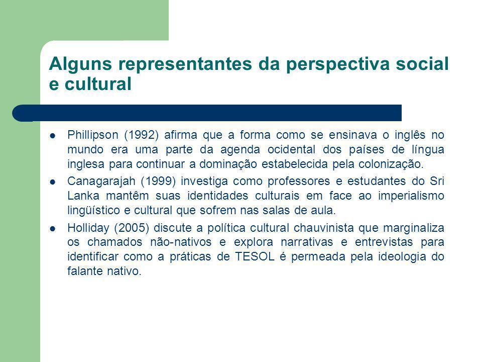 Alguns representantes da perspectiva social e cultural