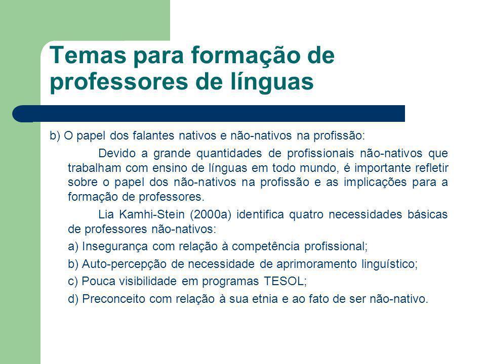 Temas para formação de professores de línguas