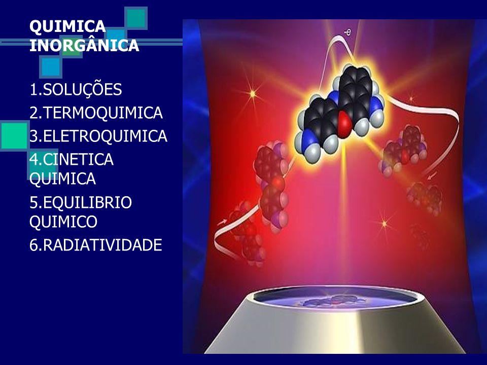 QUIMICA INORGÂNICA 1.SOLUÇÕES. 2.TERMOQUIMICA. 3.ELETROQUIMICA. 4.CINETICA QUIMICA. 5.EQUILIBRIO QUIMICO.