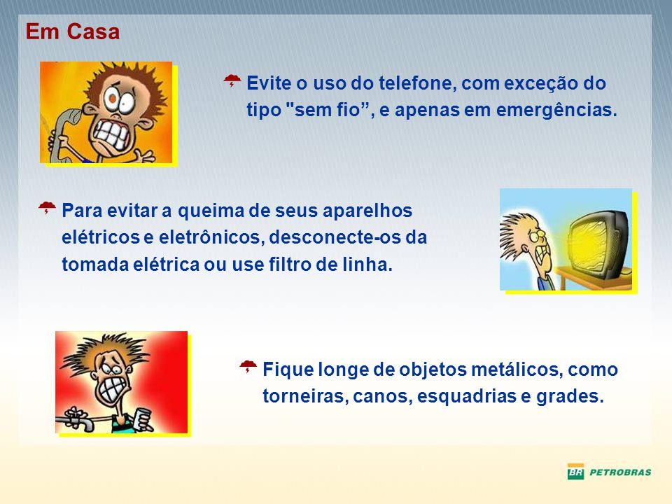 Em Casa Evite o uso do telefone, com exceção do tipo sem fio , e apenas em emergências.