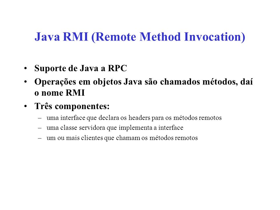 Java RMI (Remote Method Invocation)