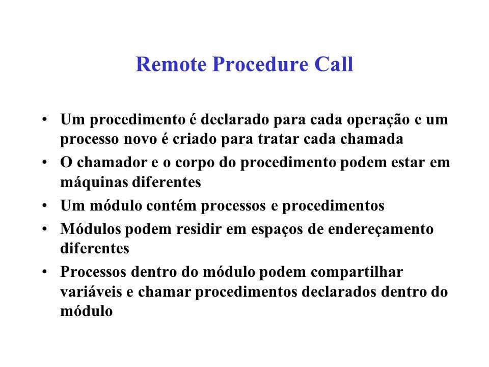 Remote Procedure Call Um procedimento é declarado para cada operação e um processo novo é criado para tratar cada chamada.