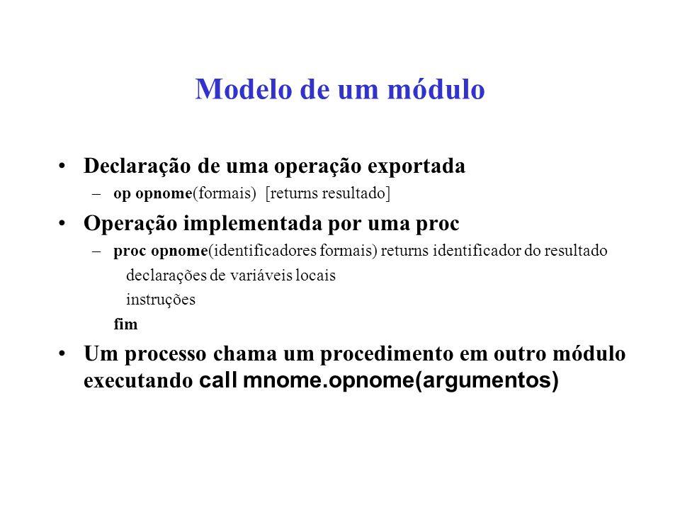 Modelo de um módulo Declaração de uma operação exportada