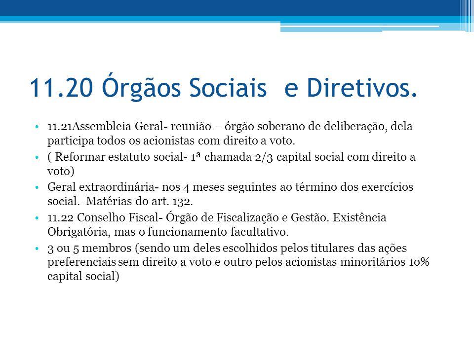 11.20 Órgãos Sociais e Diretivos.