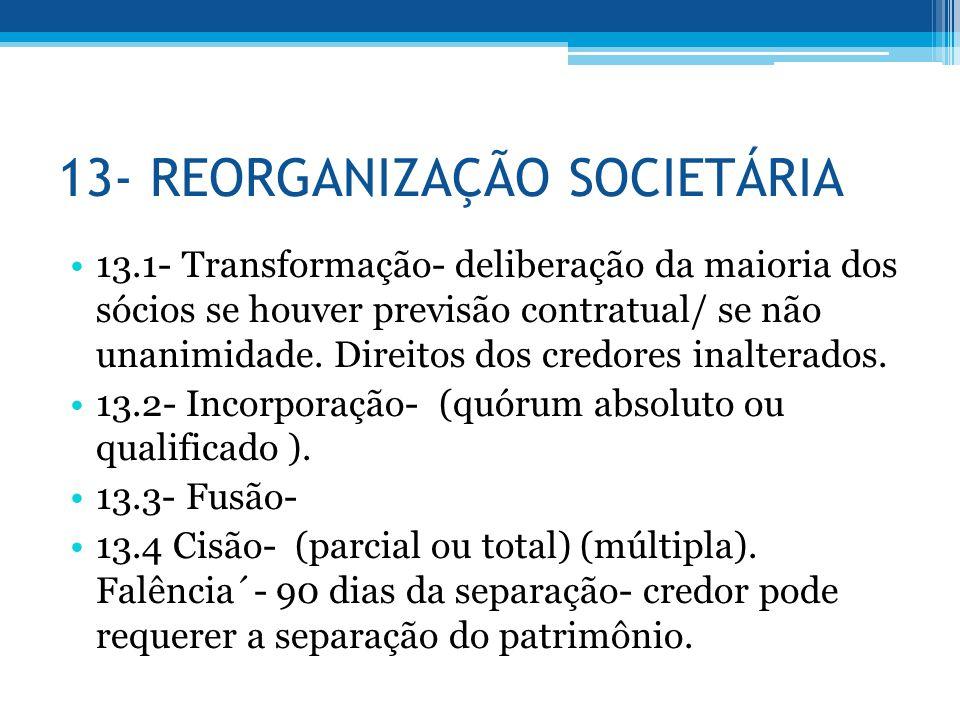 13- REORGANIZAÇÃO SOCIETÁRIA