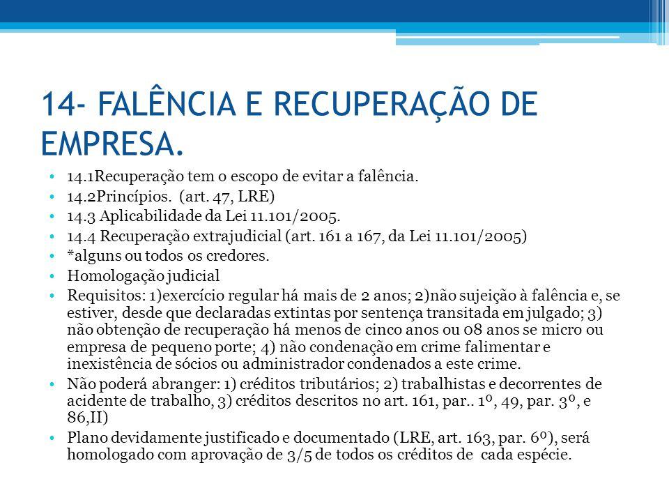 14- FALÊNCIA E RECUPERAÇÃO DE EMPRESA.