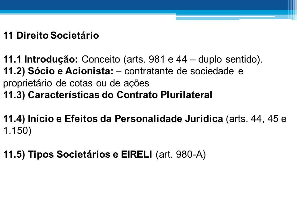 11 Direito Societário 11.1 Introdução: Conceito (arts. 981 e 44 – duplo sentido).