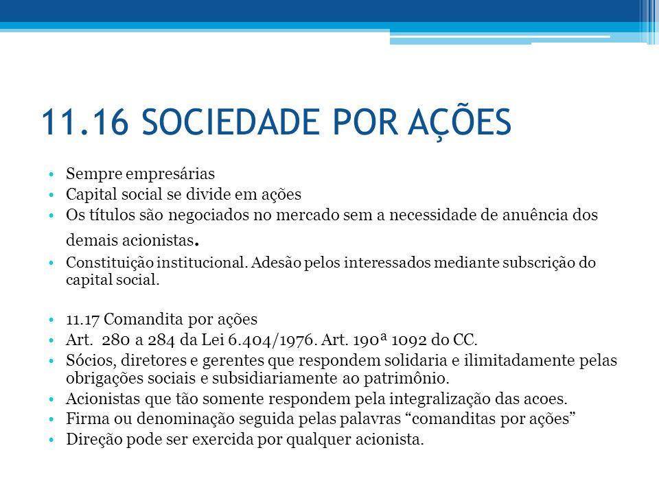 11.16 SOCIEDADE POR AÇÕES Sempre empresárias
