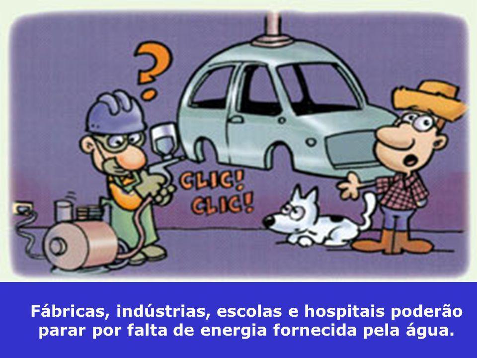 Fábricas, indústrias, escolas e hospitais poderão parar por falta de energia fornecida pela água.