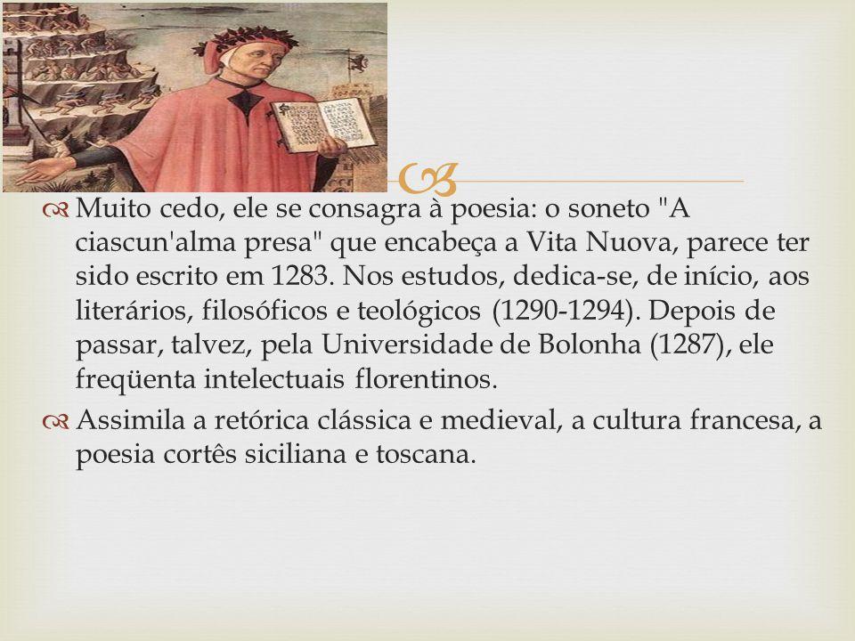 Muito cedo, ele se consagra à poesia: o soneto A ciascun alma presa que encabeça a Vita Nuova, parece ter sido escrito em 1283. Nos estudos, dedica-se, de início, aos literários, filosóficos e teológicos (1290-1294). Depois de passar, talvez, pela Universidade de Bolonha (1287), ele freqüenta intelectuais florentinos.