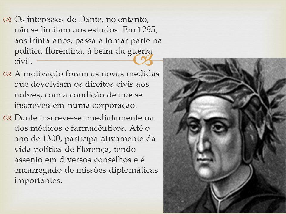 Os interesses de Dante, no entanto, não se limitam aos estudos