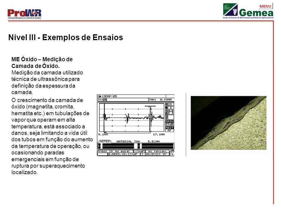 Nível III - Exemplos de Ensaios
