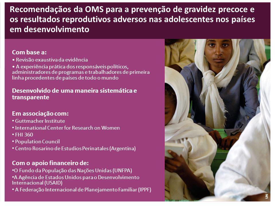 Recomendaçãos da OMS para a prevenção de gravidez precoce e os resultados reprodutivos adversos nas adolescentes nos países em desenvolvimento