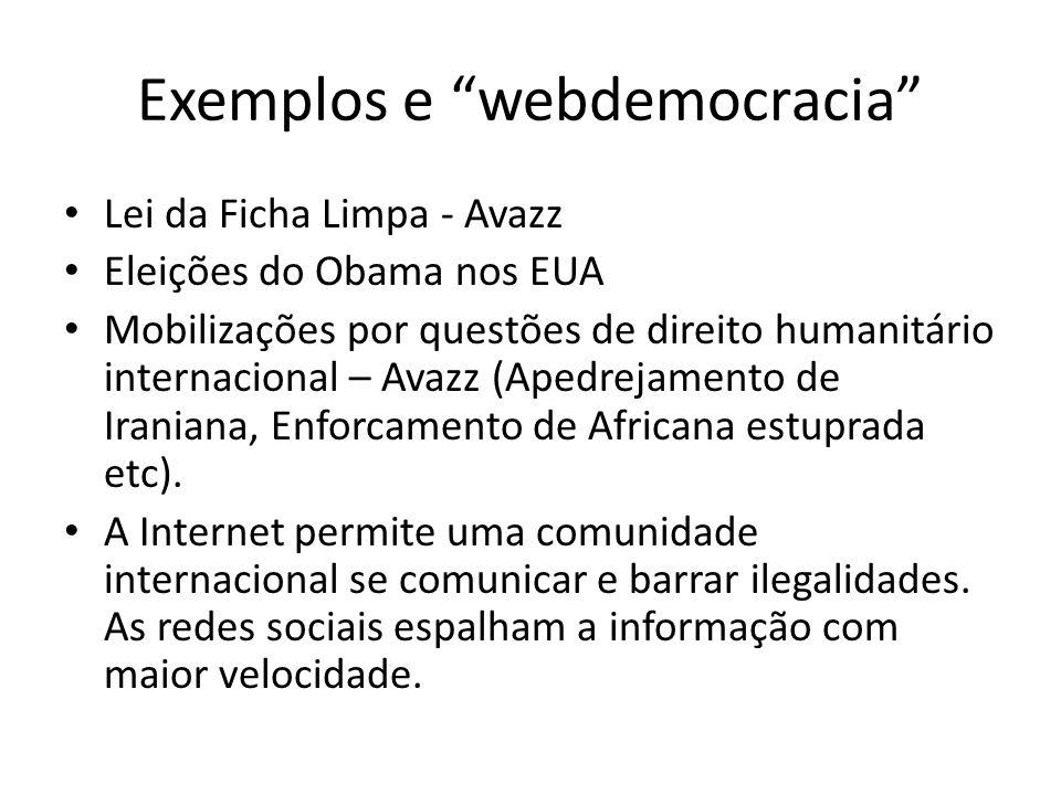 Exemplos e webdemocracia