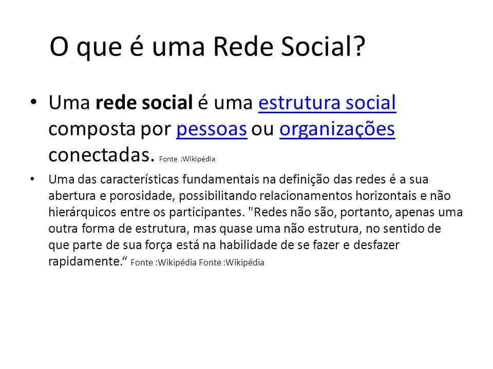 O que é uma Rede Social Uma rede social é uma estrutura social composta por pessoas ou organizações conectadas. Fonte :Wikipédia.