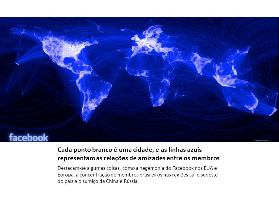 Cada ponto branco é uma cidade, e as linhas azuis representam as relações de amizades entre os membros