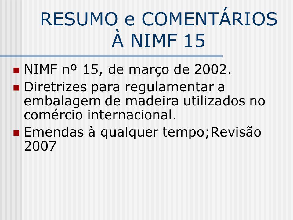 RESUMO e COMENTÁRIOS À NIMF 15