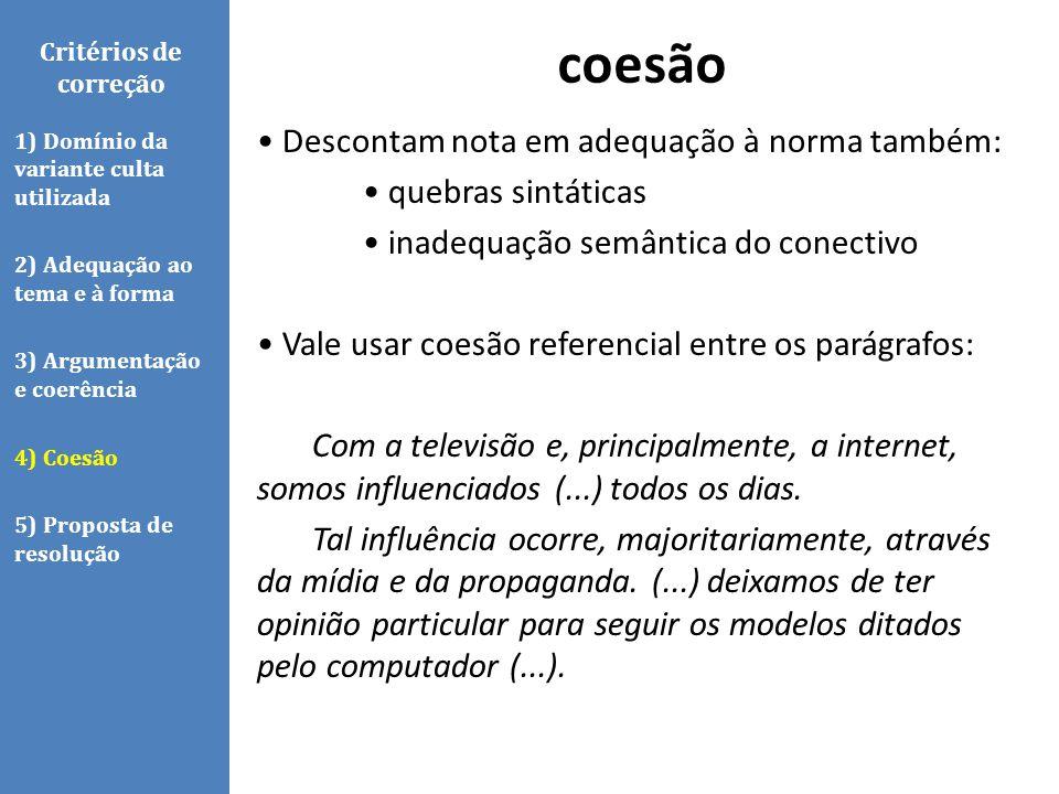 coesão Critérios de correção.