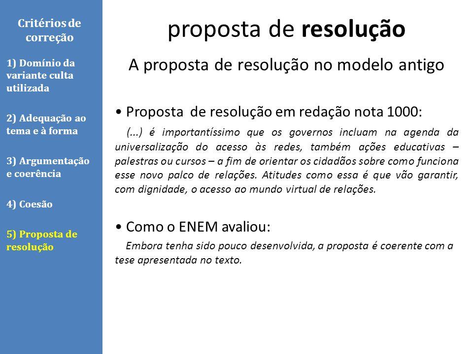 A proposta de resolução no modelo antigo