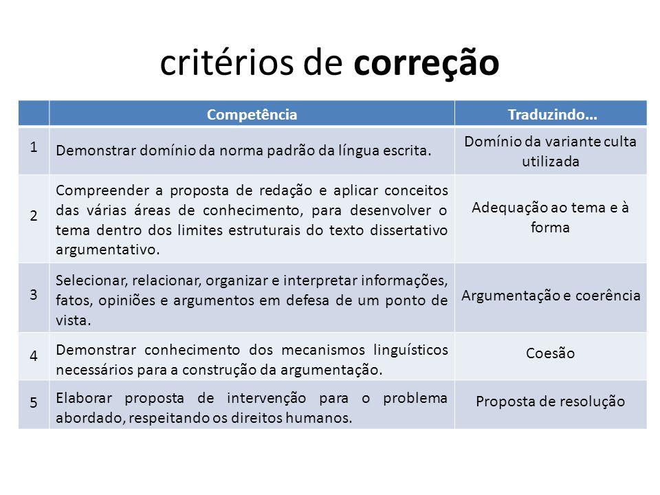critérios de correção Competência Traduzindo...