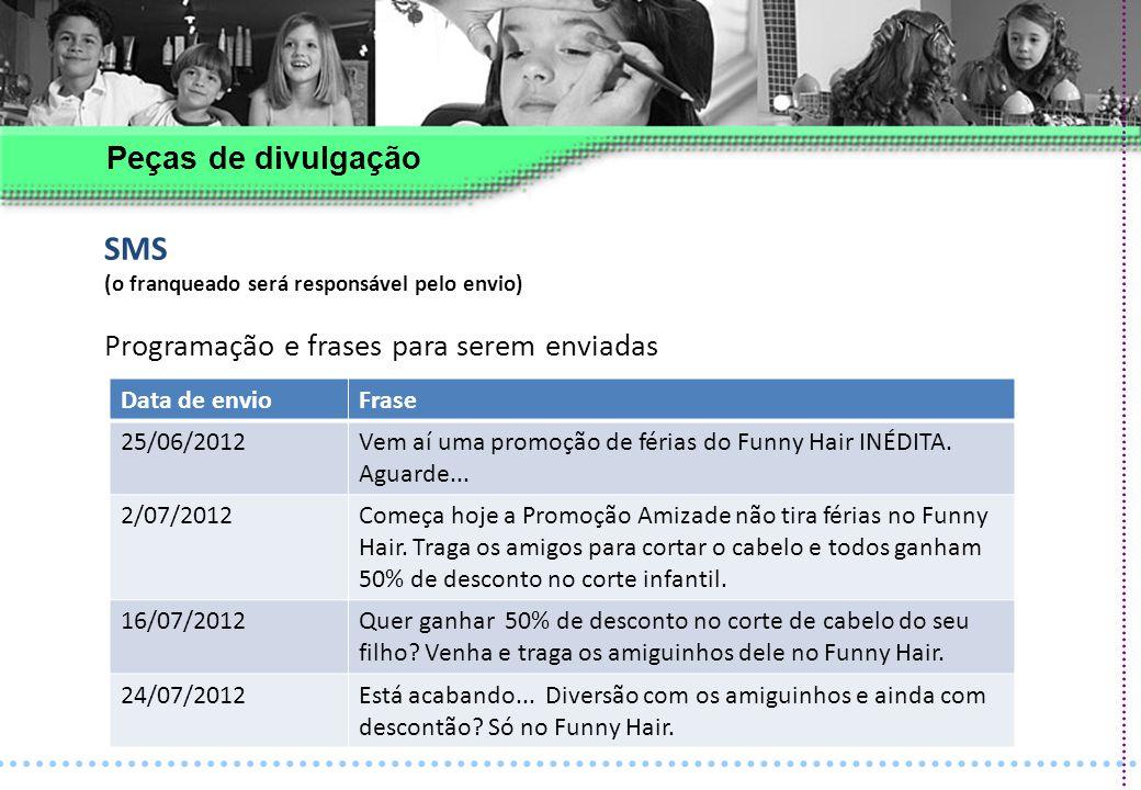 SMS Peças de divulgação Data de envio Frase 25/06/2012