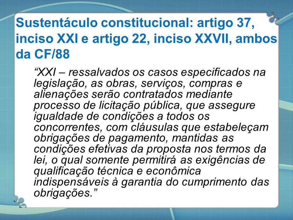 Sustentáculo constitucional: artigo 37, inciso XXI e artigo 22, inciso XXVII, ambos da CF/88