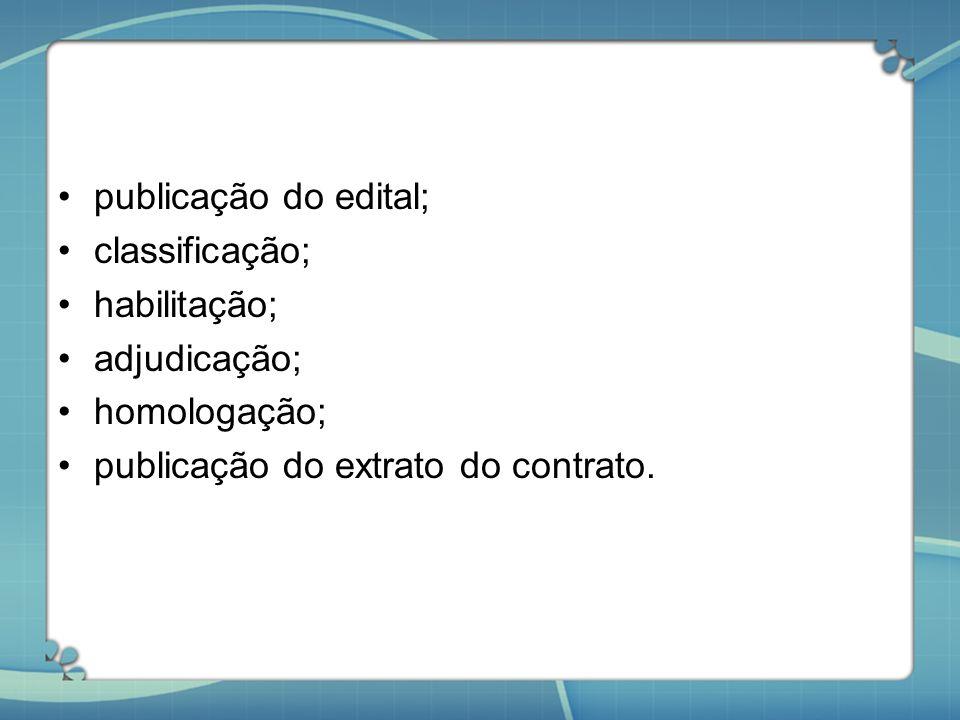 publicação do edital; classificação; habilitação; adjudicação; homologação; publicação do extrato do contrato.