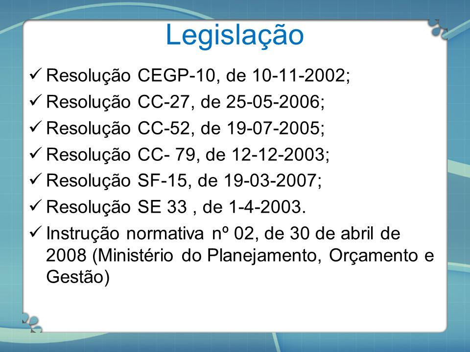 Legislação Resolução CEGP-10, de 10-11-2002;