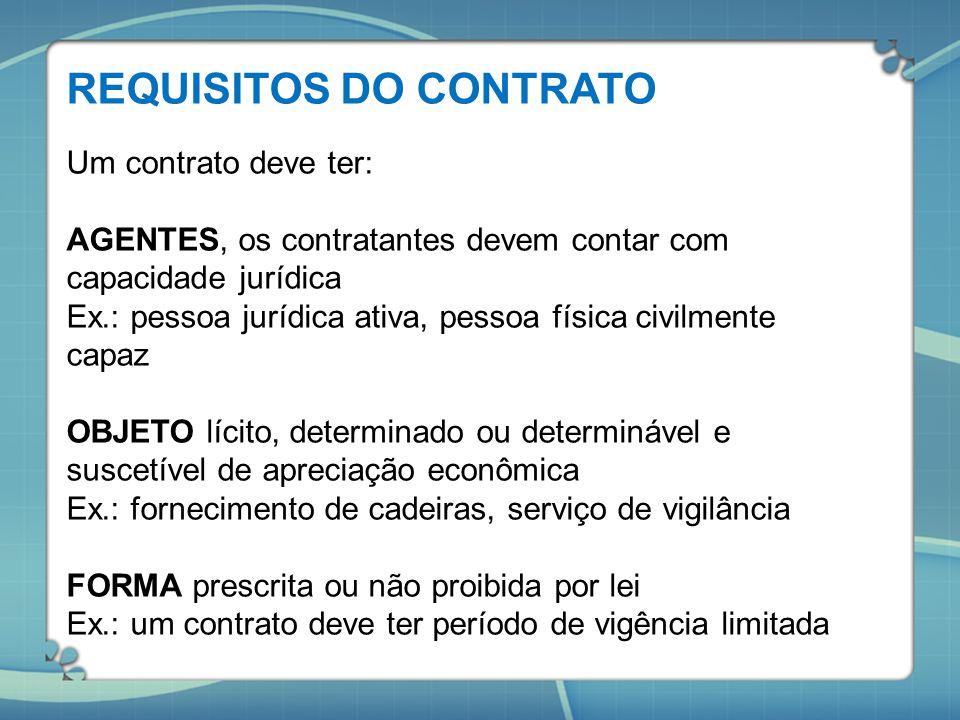 REQUISITOS DO CONTRATO