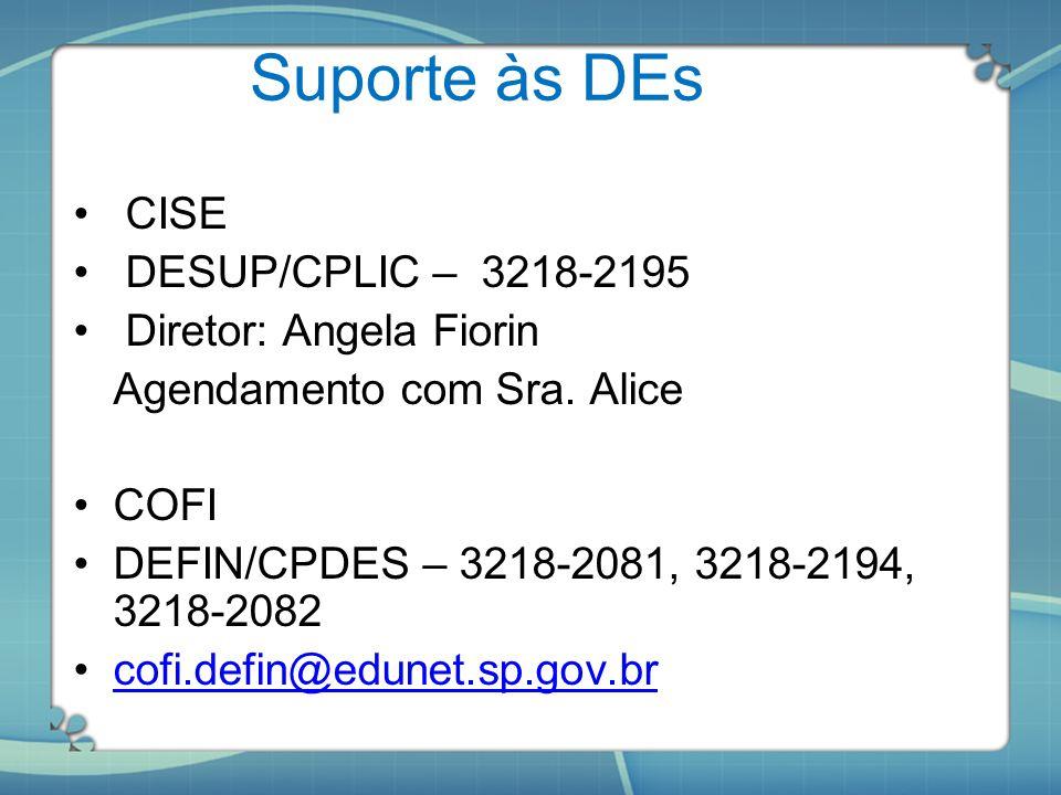 Suporte às DEs CISE DESUP/CPLIC – 3218-2195 Diretor: Angela Fiorin