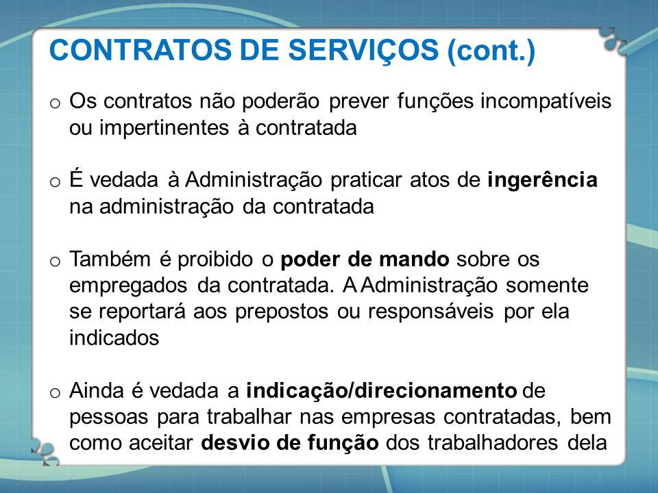 CONTRATOS DE SERVIÇOS (cont.)