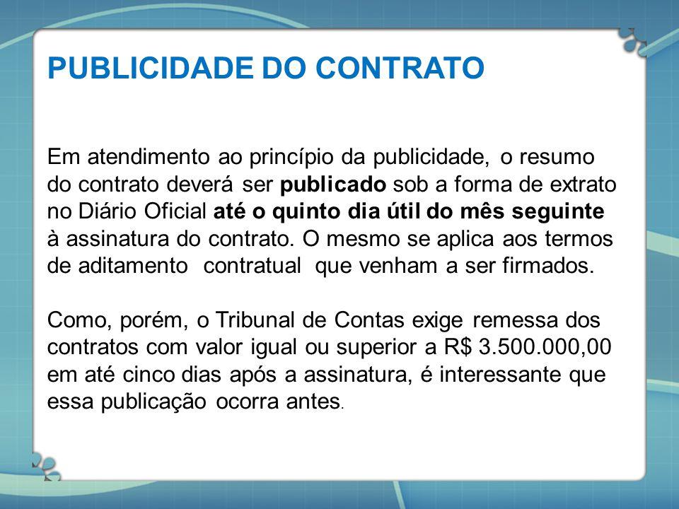 PUBLICIDADE DO CONTRATO