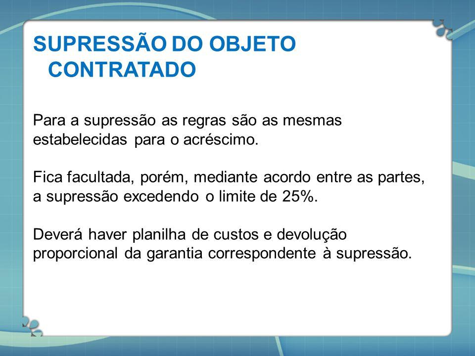 SUPRESSÃO DO OBJETO CONTRATADO