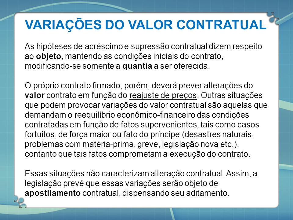 VARIAÇÕES DO VALOR CONTRATUAL