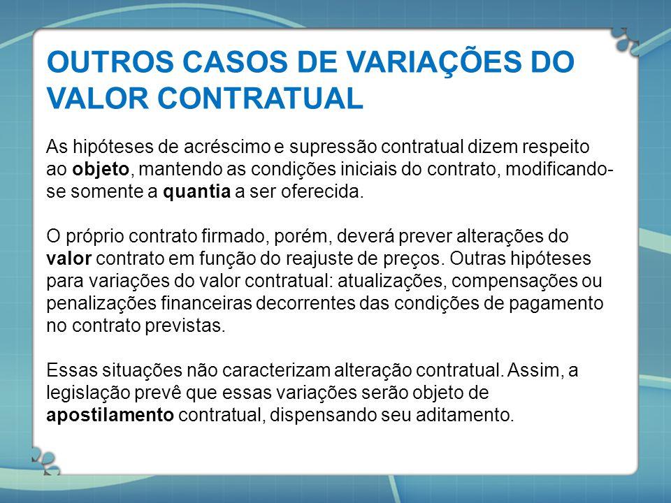 OUTROS CASOS DE VARIAÇÕES DO VALOR CONTRATUAL