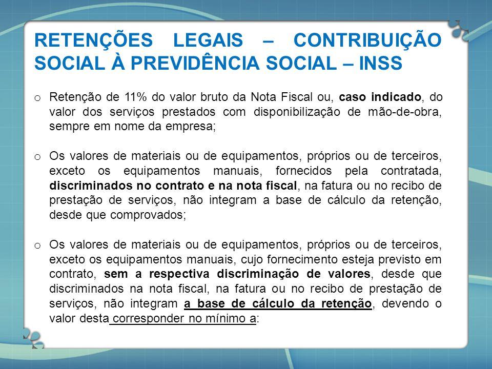 RETENÇÕES LEGAIS – CONTRIBUIÇÃO SOCIAL À PREVIDÊNCIA SOCIAL – INSS