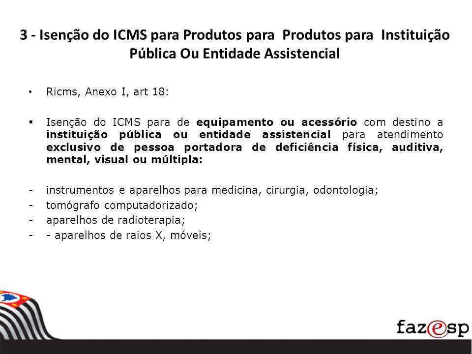 3 - Isenção do ICMS para Produtos para Produtos para Instituição Pública Ou Entidade Assistencial