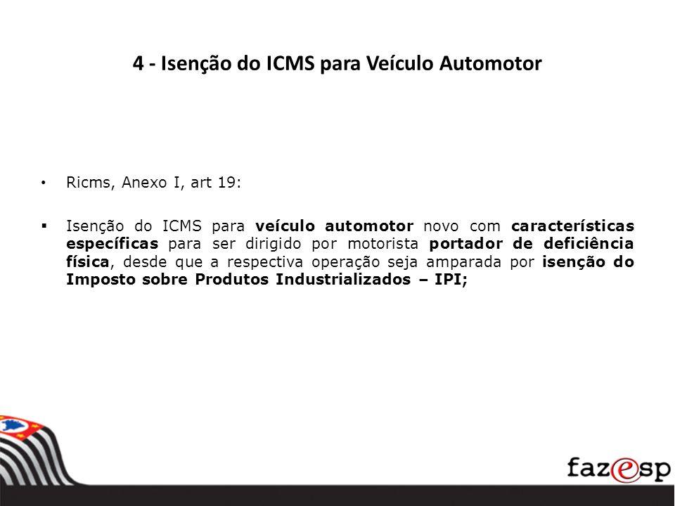 4 - Isenção do ICMS para Veículo Automotor