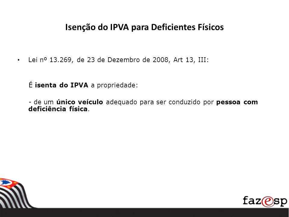 Isenção do IPVA para Deficientes Físicos