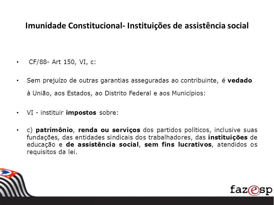 Imunidade Constitucional- Instituições de assistência social