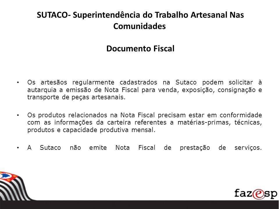 SUTACO- Superintendência do Trabalho Artesanal Nas Comunidades Documento Fiscal