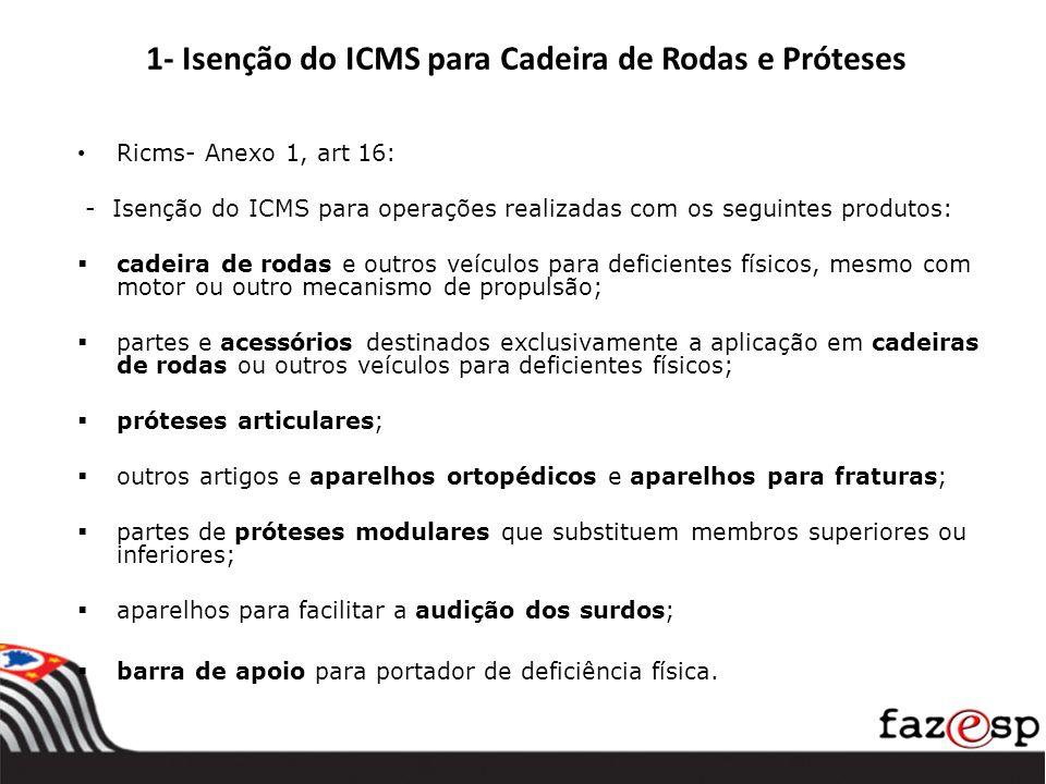 1- Isenção do ICMS para Cadeira de Rodas e Próteses