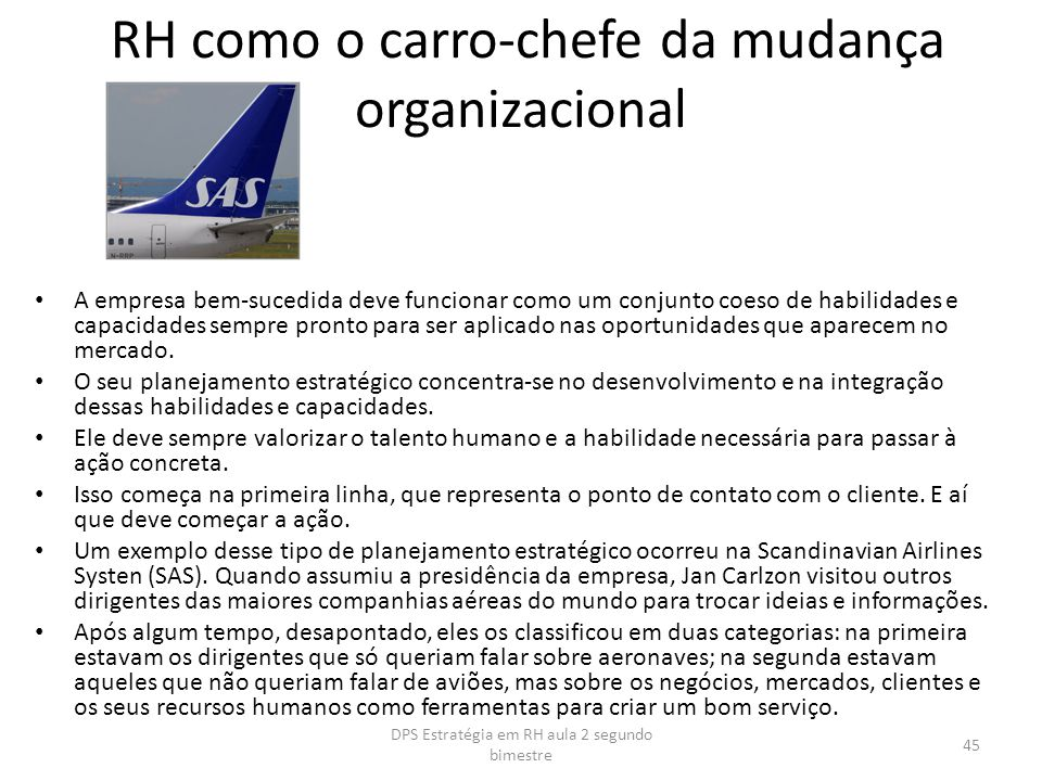 RH como o carro-chefe da mudança organizacional