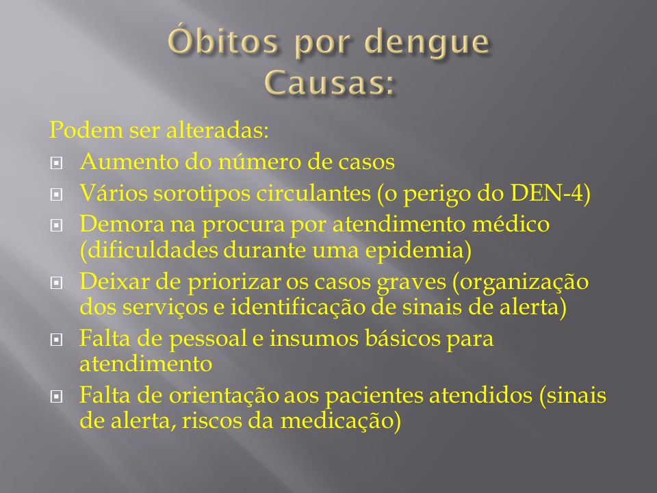 Óbitos por dengue Causas: