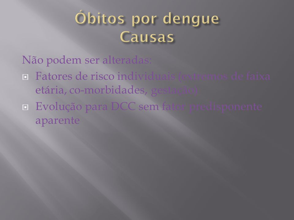 Óbitos por dengue Causas