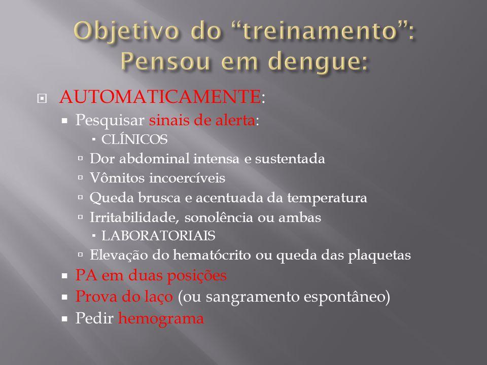 Objetivo do treinamento : Pensou em dengue: